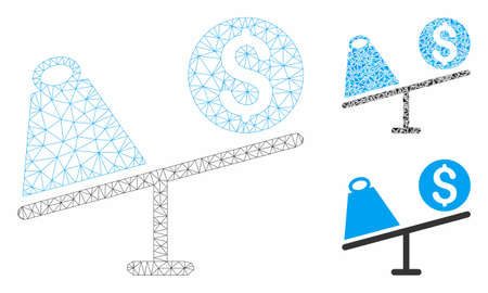 Mesh trade swing model with triangle mosaic icon. Wire frame polygonal mesh of trade swing. Vector mosaic of triangle parts in variable sizes, and color tinges. Abstract flat mesh trade swing,