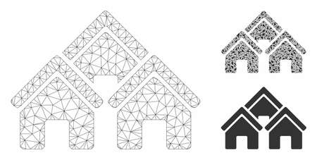 Mesh town buildings model with triangle mosaic icon. Wire carcass triangular mesh of town buildings. Vector mosaic of triangle parts in various sizes, and color tinges.