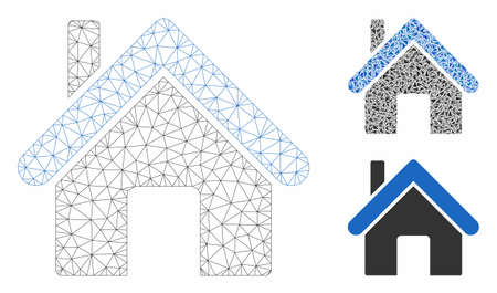 Mesh home model with triangle mosaic icon. Wire carcass polygonal mesh of home. Vector mosaic of triangle elements in different sizes, and color hues. Abstract 2d mesh home, built from polygonal grid. Illusztráció