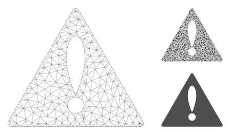 Mesh warning model with triangle mosaic icon. Wire carcass triangular mesh of warning. Vector mosaic of triangle parts in variable sizes, and color tints. Abstract flat mesh warning,