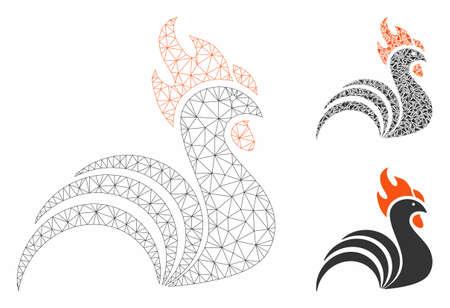 Siatkowy model koguta z ikoną mozaiki trójkąta. Wielokątna siatka druciana z koguta. Mozaika wektorowa trójkątów w różnych rozmiarach i odcieniach kolorów. Abstrakcyjny kogut z płaską siatką, zaprojektowany z trójkątami. Ilustracje wektorowe