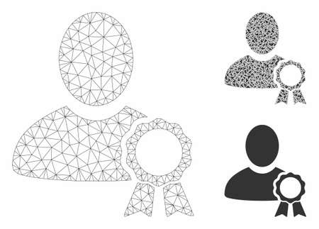 Mesh user seal stamp model with triangle mosaic icon. Wire carcass triangular mesh of user seal stamp. Vector collage of triangle parts in different sizes, and color tinges.