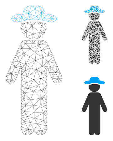 Mesh standing gentleman model with triangle mosaic icon. Wire carcass triangular mesh of standing gentleman. Vector mosaic of triangle parts in different sizes, and color tones.