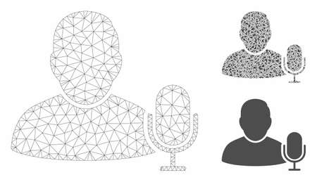 Mesh user microphone model with triangle mosaic icon. Wire carcass polygonal mesh of user microphone. Vector composition of triangles in different sizes, and color shades.