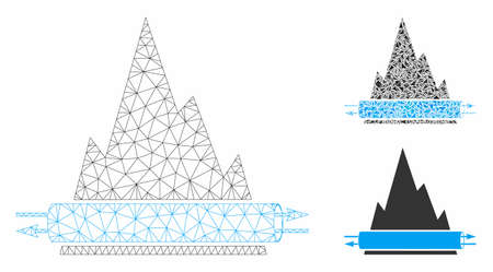 Mesh VPN tunnel model with triangle mosaic icon. Wire frame triangular mesh of VPN tunnel. Vector mosaic of triangle parts in variable sizes, and color shades. Abstract flat mesh VPN tunnel,