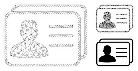 Mesh user cards model with triangle mosaic icon. Wire frame polygonal mesh of user cards. Vector mosaic of triangle parts in variable sizes, and color tinges. Abstract 2d mesh user cards, Stok Fotoğraf - 129953890