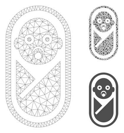 Mesh newborn model with triangle mosaic icon. Wire frame polygonal mesh of newborn. Vector mosaic of triangle elements in variable sizes, and color tones. Abstract 2d mesh newborn,