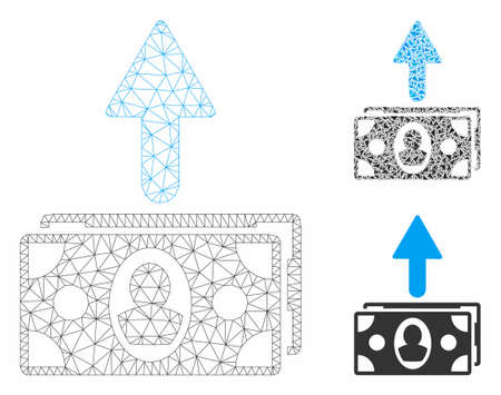 Mesh spend banknotes model with triangle mosaic icon. Wire carcass triangular mesh of spend banknotes. Vector composition of triangle parts in variable sizes, and color tinges.