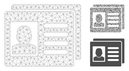 Mesh user account cards model with triangle mosaic icon. Wire carcass triangular mesh of user account cards. Vector mosaic of triangle elements in different sizes, and color tints. Stok Fotoğraf - 129953945