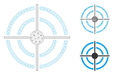 Mesh target model with triangle mosaic icon. Wire carcass triangular mesh of target. Vector mosaic of triangle parts in variable sizes, and color tints. Abstract flat mesh target,