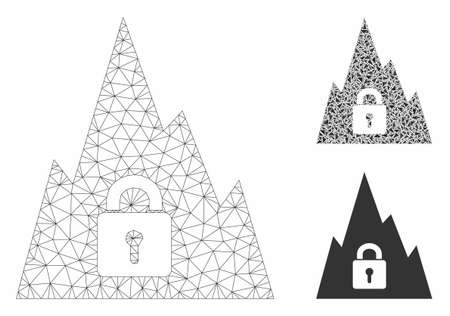 Mesh locked tunnel model with triangle mosaic icon. Wire carcass triangular mesh of locked tunnel. Vector mosaic of triangle parts in various sizes, and color tinges. Abstract 2d mesh locked tunnel, Çizim