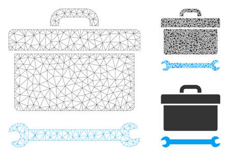 Mesh toolbox model with triangle mosaic icon. Wire frame polygonal mesh of toolbox. Vector mosaic of triangle parts in various sizes, and color shades. Abstract 2d mesh toolbox,