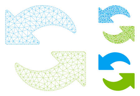 Mesh refresh model with triangle mosaic icon. Wire carcass polygonal network of refresh. Vector mosaic of triangles in different sizes, and color hues. Abstract flat mesh refresh,