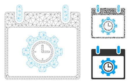 Mesh time gear calendar day model with triangle mosaic icon. Wire carcass polygonal mesh of time gear calendar day. Vector collage of triangle elements in variable sizes, and color hues.