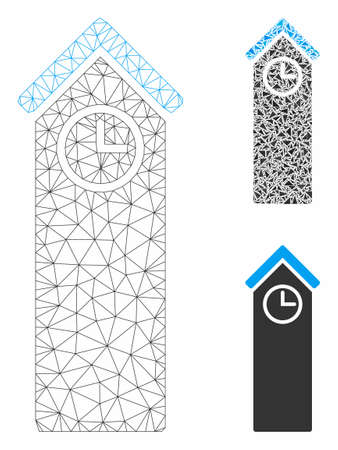 Mesh time tower model with triangle mosaic icon. Wire carcass triangular mesh of time tower. Vector composition of triangle elements in various sizes, and color tints. Abstract flat mesh time tower, Illusztráció