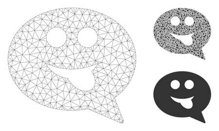 Mesh tongue smiley message model with triangle mosaic icon. Wire frame polygonal network of tongue smiley message. Vector mosaic of triangle elements in different sizes, and color tints.
