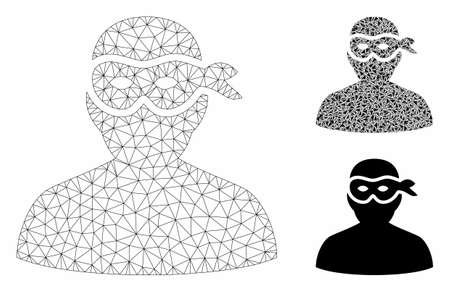 Mesh masked thief model with triangle mosaic icon. Wire carcass polygonal mesh of masked thief. Vector mosaic of triangle parts in various sizes, and color hues. Abstract flat mesh masked thief, 向量圖像
