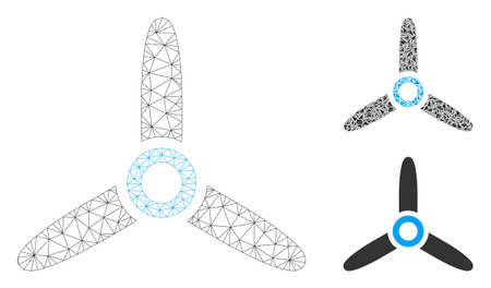 Mesh rotor model with triangle mosaic icon. Wire frame triangular network of rotor. Vector mosaic of triangle parts in different sizes, and color tints. Abstract flat mesh rotor, Ilustrace