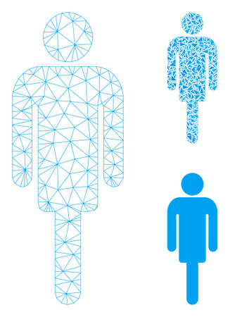 Mesh man model with triangle mosaic icon. Wire frame polygonal mesh of man. Vector mosaic of triangle elements in variable sizes, and color shades. Abstract 2d mesh man, designed with triangles.  イラスト・ベクター素材