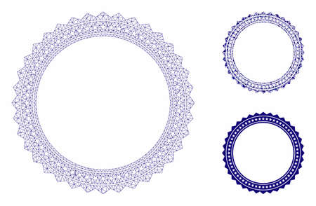 Mesh rosette circular star frame model with triangle mosaic icon. Wire carcass polygonal mesh of rosette circular star frame. Vector mosaic of triangle parts in various sizes, and color hues.