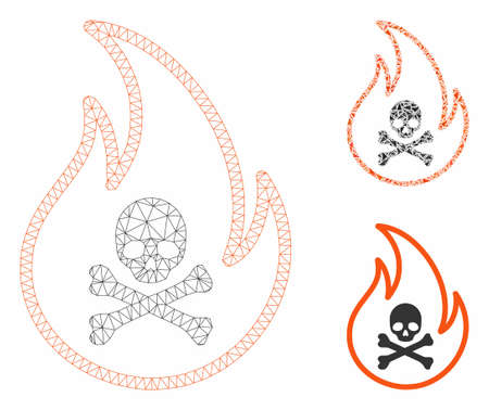 Mesh toxic fire model with triangle mosaic icon. Wire carcass polygonal mesh of toxic fire. Vector composition of triangle parts in variable sizes, and color hues. Abstract 2d mesh toxic fire,