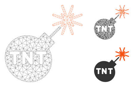 Mesh TNT bomb model with triangle mosaic icon. Wire frame triangular mesh of TNT bomb. Vector mosaic of triangle parts in different sizes, and color tints. Abstract 2d mesh TNT bomb,