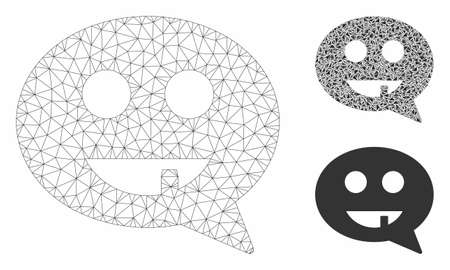 Mesh toothless smiley message model with triangle mosaic icon. Wire carcass triangular mesh of toothless smiley message. Vector composition of triangle parts in various sizes, and color tones.