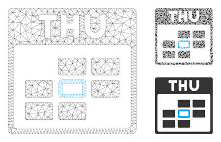 Mesh Thursday calendar grid model with triangle mosaic icon. Wire frame polygonal mesh of Thursday calendar grid. Vector collage of triangles in different sizes, and color tints.