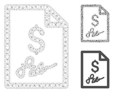 Mesh signed bill model with triangle mosaic icon. Wire carcass triangular mesh of signed bill. Vector mosaic of triangles in different sizes, and color tinges. Abstract flat mesh signed bill,  イラスト・ベクター素材