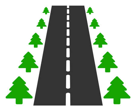 Vector straight road alley flat icon. Vector pictograph style is a flat symbol straight road alley icon on a white background.