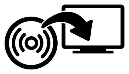 Vector install disc to PC flat icon. Vector pictograph style is a flat symbol install disc to PC icon on a white background.