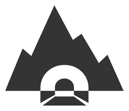 Vector mountain tunnel flat icon. Vector pictogram style is a flat symbol mountain tunnel icon on a white background. 일러스트