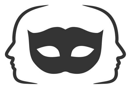 Raster private party mask flat icon. Raster pictogram style is a flat symbol private party mask icon on a white background. Stock fotó