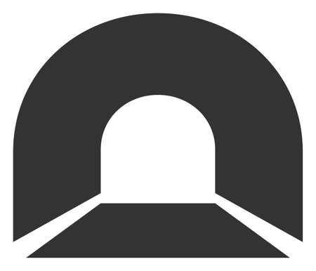 Raster tunnel flat icon. Raster pictograph style is a flat symbol tunnel icon on a white background.