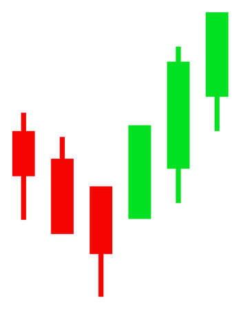 Raster candlestick chart flat icon. Raster pictograph style is a flat symbol candlestick chart icon on a white background.