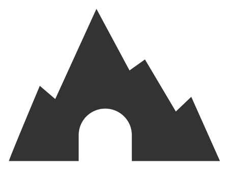 Raster mountain tunnel flat icon. Raster pictogram style is a flat symbol mountain tunnel icon on a white background.