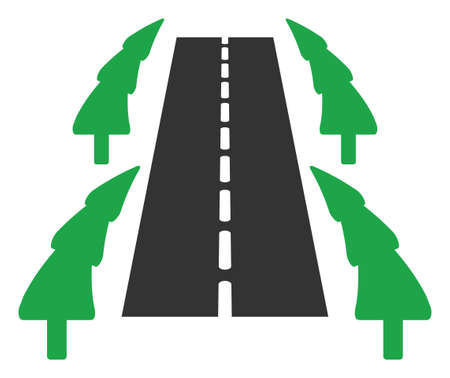 Raster tree ally road flat icon. Raster pictogram style is a flat symbol tree ally road icon on a white background.