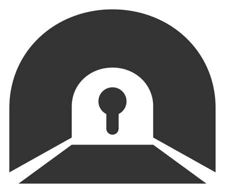 Raster private tunnel flat icon. Raster pictograph style is a flat symbol private tunnel icon on a white background.