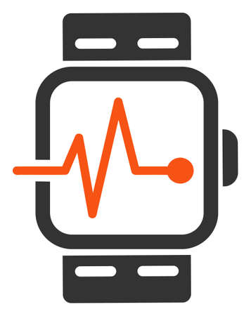 Raster medical watches flat icon. Raster pictograph style is a flat symbol medical watches icon on a white background.