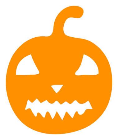 Raster halloween pumpkin flat icon. Raster pictograph style is a flat symbol halloween pumpkin icon on a white background.