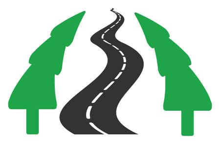 Raster fir-tree alley road flat icon. Raster pictogram style is a flat symbol fir-tree alley road icon on a white background. 版權商用圖片