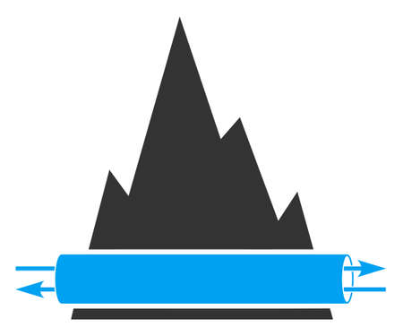 Raster VPN tunnel v2 flat icon. Raster pictogram style is a flat symbol VPN tunnel v2 icon on a white background.