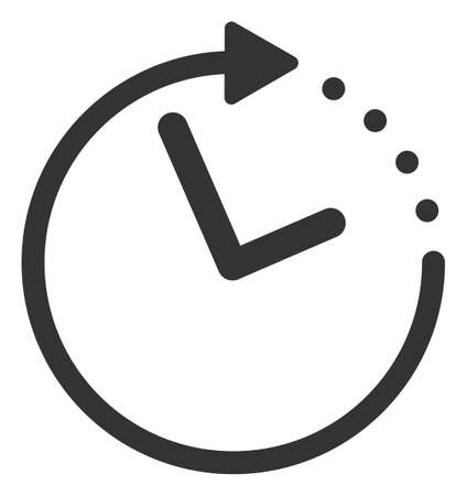 Raster time direction flat icon. Raster pictograph style is a flat symbol time direction icon on a white background.