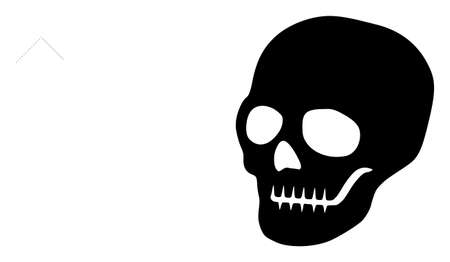 Raster skull flat icon. Raster pictogram style is a flat symbol skull icon on a white background.