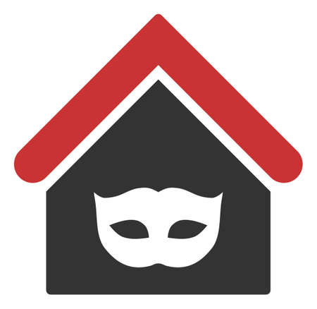 Raster private party house flat icon. Raster pictogram style is a flat symbol private party house icon on a white background.