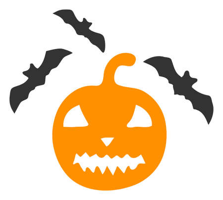 Raster halloween bats flat icon. Raster pictogram style is a flat symbol halloween bats icon on a white background. Stock fotó