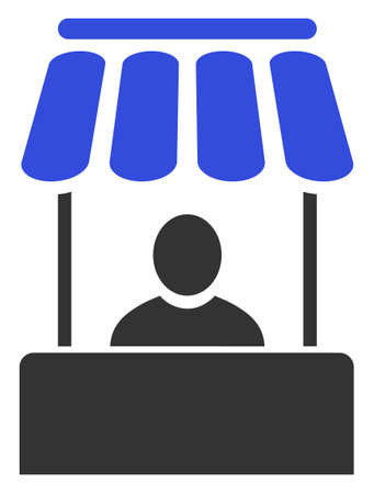 Raster market booth flat icon. Raster pictograph style is a flat symbol market booth icon on a white background.