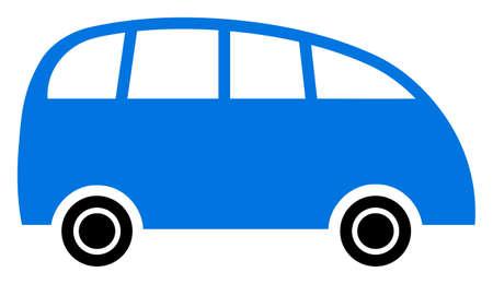 Raster minibus flat icon. Raster pictograph style is a flat symbol minibus icon on a white background.