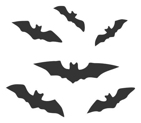 Raster halloween bats v2 flat icon. Raster pictograph style is a flat symbol halloween bats v2 icon on a white background. Stock Photo