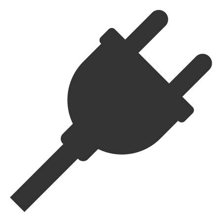 Vector electric plug flat icon. Vector pictograph style is a flat symbol electric plug icon on a white background. Illustration